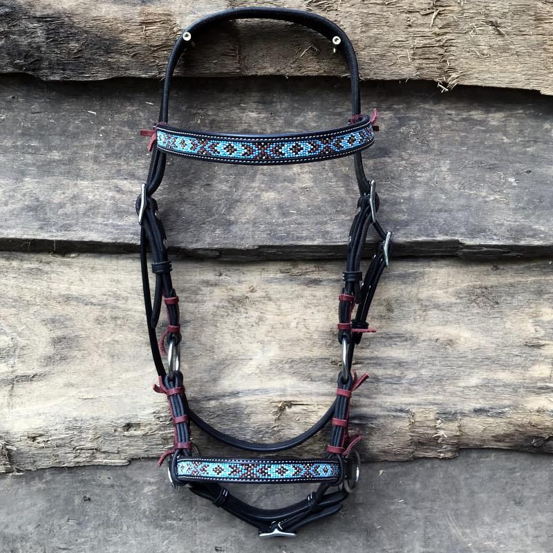 Sidepull Indian mit Perlenstickerei - schwarz - Profil